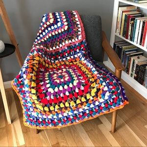 Vintage Handmade Crochet Granny Throw Blanket